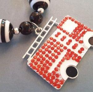 NWOT Handmade Fire Engine Chunky Necklace